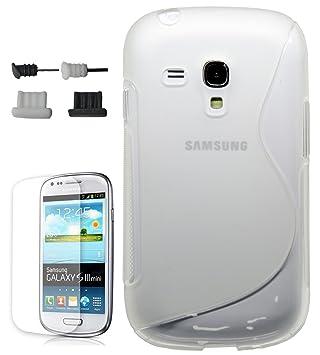 3f5d6957056 Funda GEL TPU S-line Semi TRANSPARENTE Samsung GALAXY S3 Mini i8190+Protector  Pantalla+4x Tapones Antipolvo: Amazon.es: Electrónica