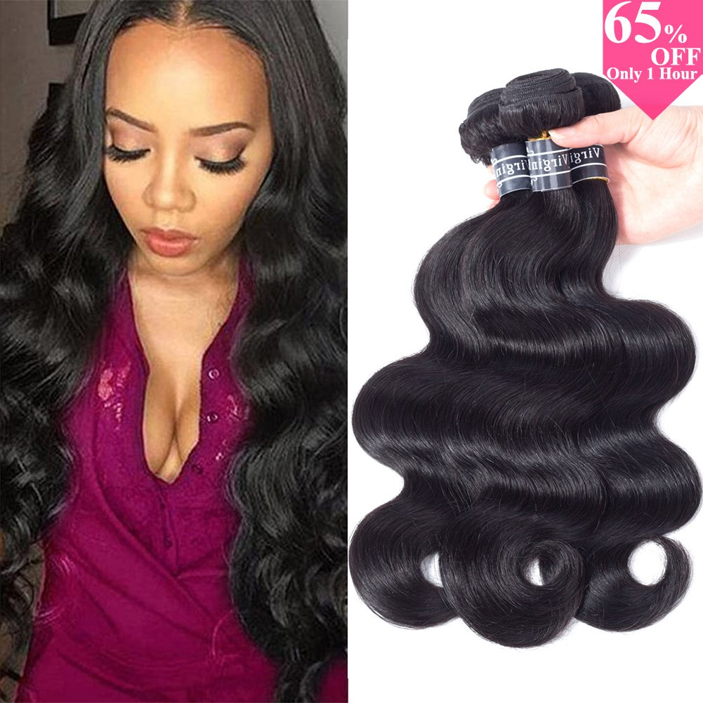 Amella Hair 100% Unprocessed Virgin Brazilian Human Hair Brazilian Body Wave 3 Bundles Hair Extensions Grade 10A Remy Human Hair Bundles Natural Black Color(18 20 22)