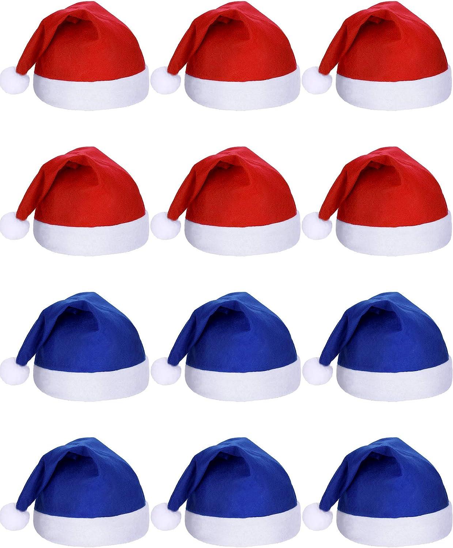 SATINIOR 12 Piezas de Sombrero de Papá Noel Gorra de Tela No ...