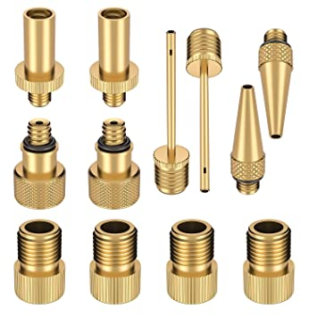 Sumile 12pcs Bike Bicycle Pump Adapter Valve Pure Copper Adapter Set