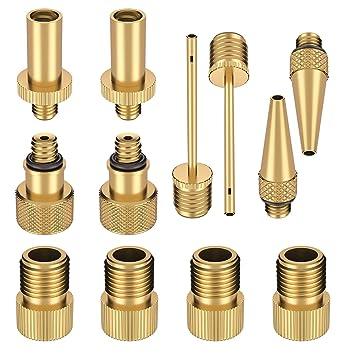 sumile 12pcs adaptador para bombas de bicicleta Válvula Adaptador Juego de cobre Válvula de,adaptador