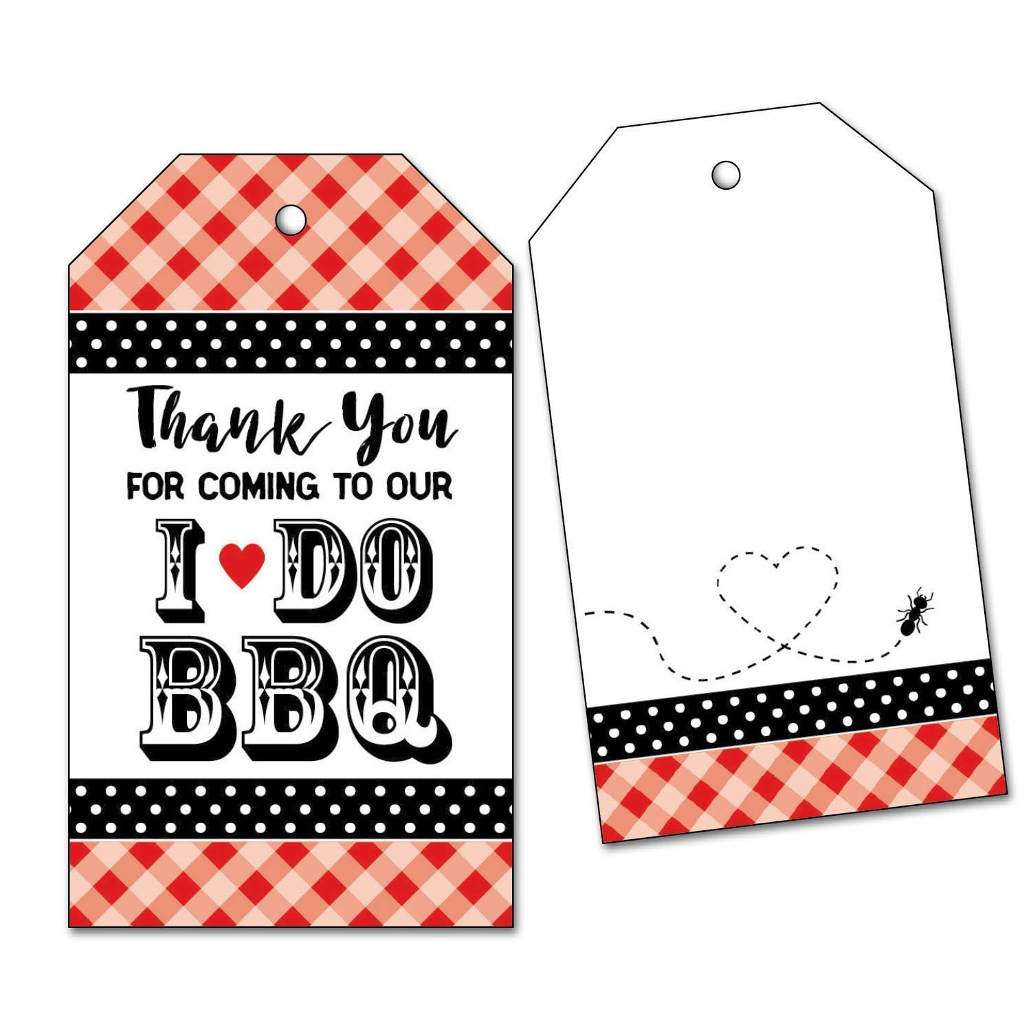 25 I Do BBQ Thank You Favor Tags for Engagement Party, Wedding Rehearsal Dinner Barbecue, Red