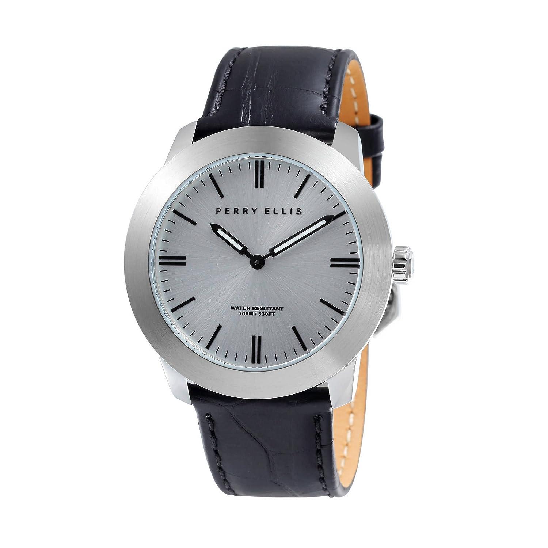[ペリーエリス]Perry Ellis 腕時計 SLIM LINE(スリムライン) クォーツ 42 mmケース 本革バンド 07013-01 メンズ 【正規輸入品】  B0793KPXP4
