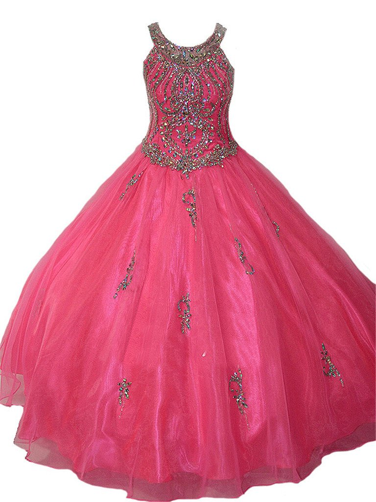 PuTao Big Girls' Crystal Long Ball Gowns Kids Pageant Dresses 10 US Pink