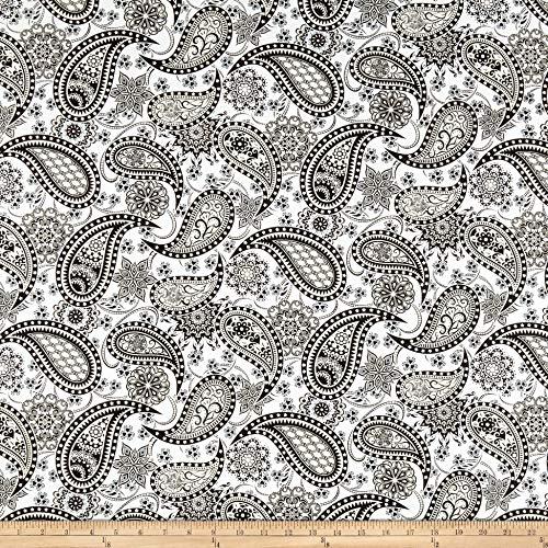 Benartex Jubilee Paisley White/Black, Fabric by the Yard