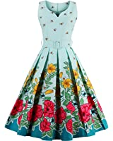 Tempt Me Juniors Vintage 50s Floral Sleeveless Garden Party Dress Cocktail Swing Dress