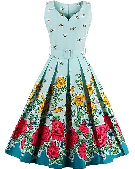 Tempt Me Juniors Vintage 50s Floral Sleeveless Garden Party Dress Cocktail  Swing Dress Blue XL