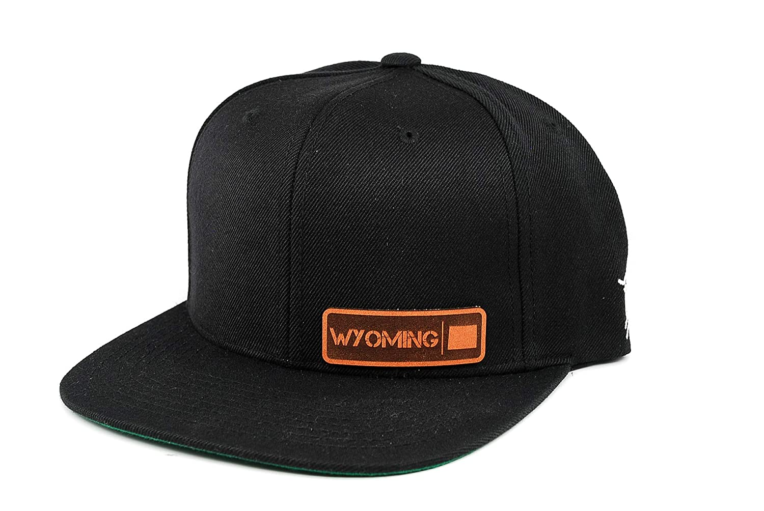 Branded Bills /'Wyoming Native Leather Patch Snapback Hat OSFA//Black