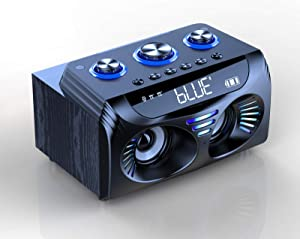 VAENSONG Portable Bluetooth Party Speakers Colorful Light 20W Loud Wireless Desktop Computer Speaker A21 with 360°Stereo Sound and Deep Bass, FM Radio, Alarm Clock, USB Player for Home,Outdoor,Camping