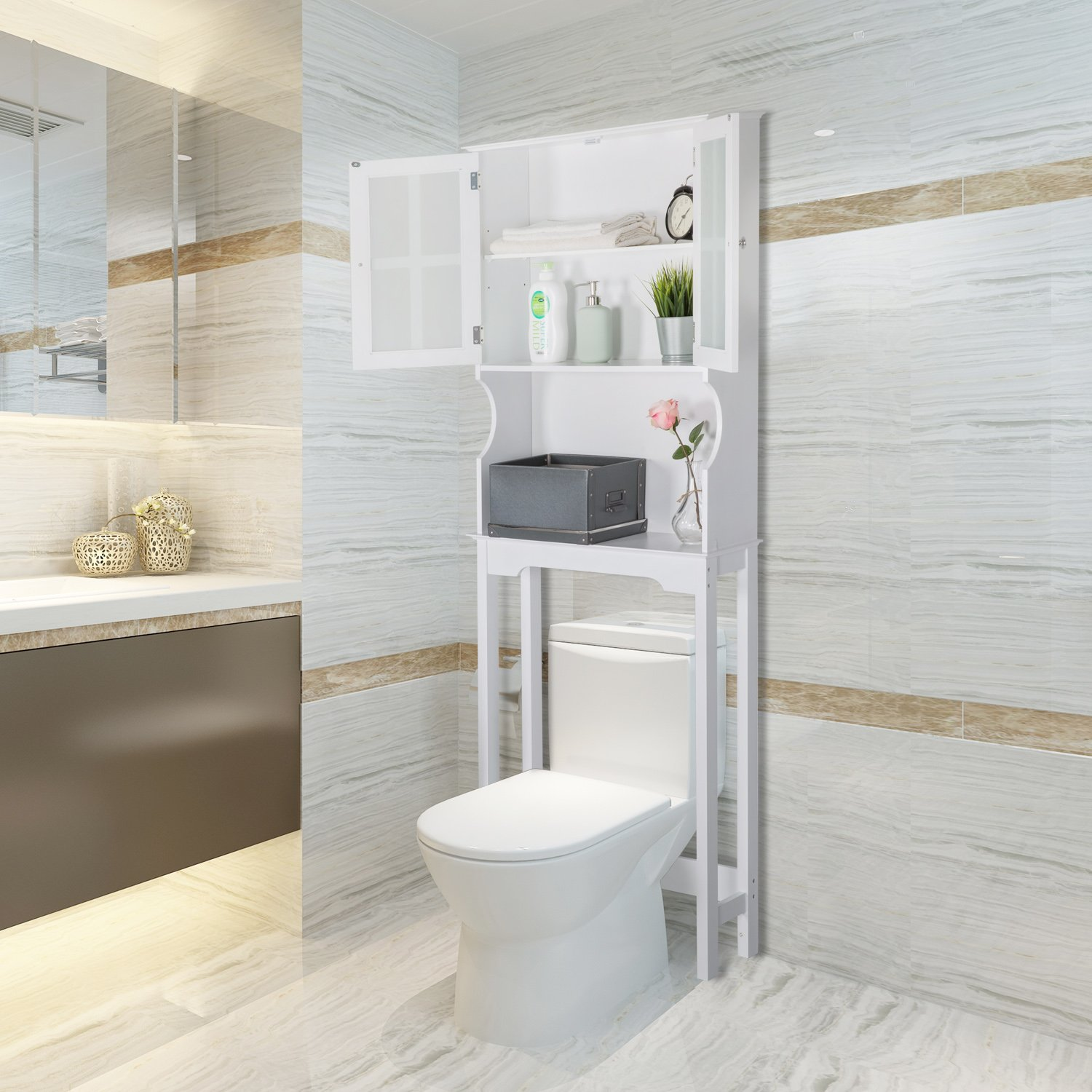 Peachtree Press Inc Home Bathroom Shelf Over The Toilet, Space Saver Cabinet,Bathroom Cabinet Organizer with Graceful Curve Cabinet&Moru Tempered Glass Door, White