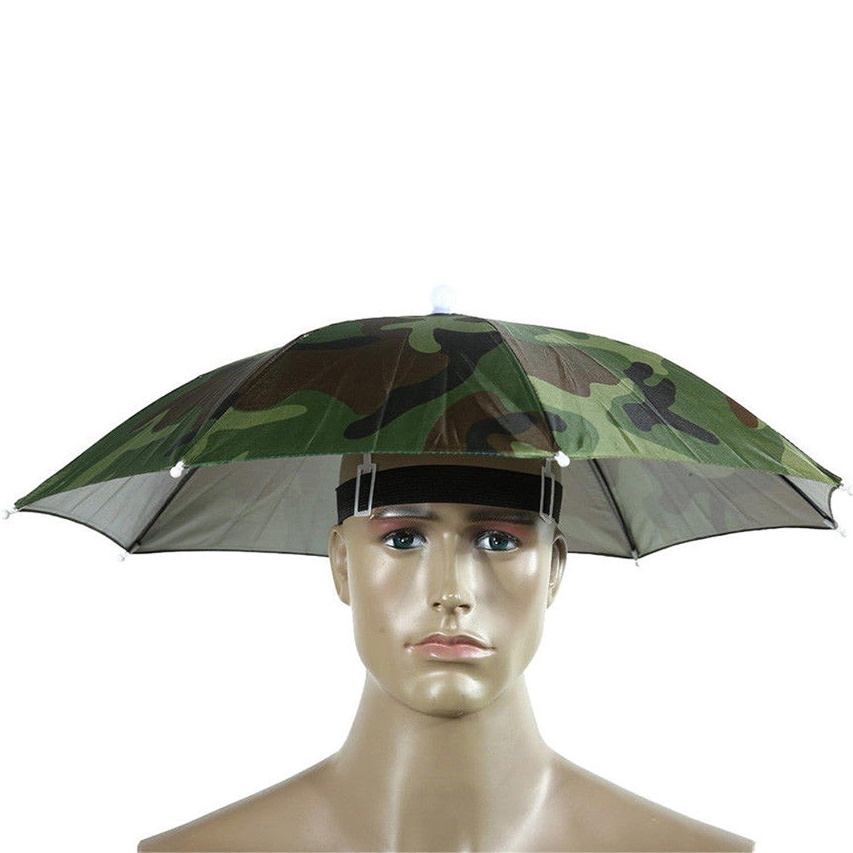sfe-umbrellaキャップ、傘帽子キャップ手フリーwithヘッドストラップfor Sun雨、ゴムバンド釣りHeadwear傘帽子 パープル SFE-125 B07BSM8TS3 迷彩 迷彩