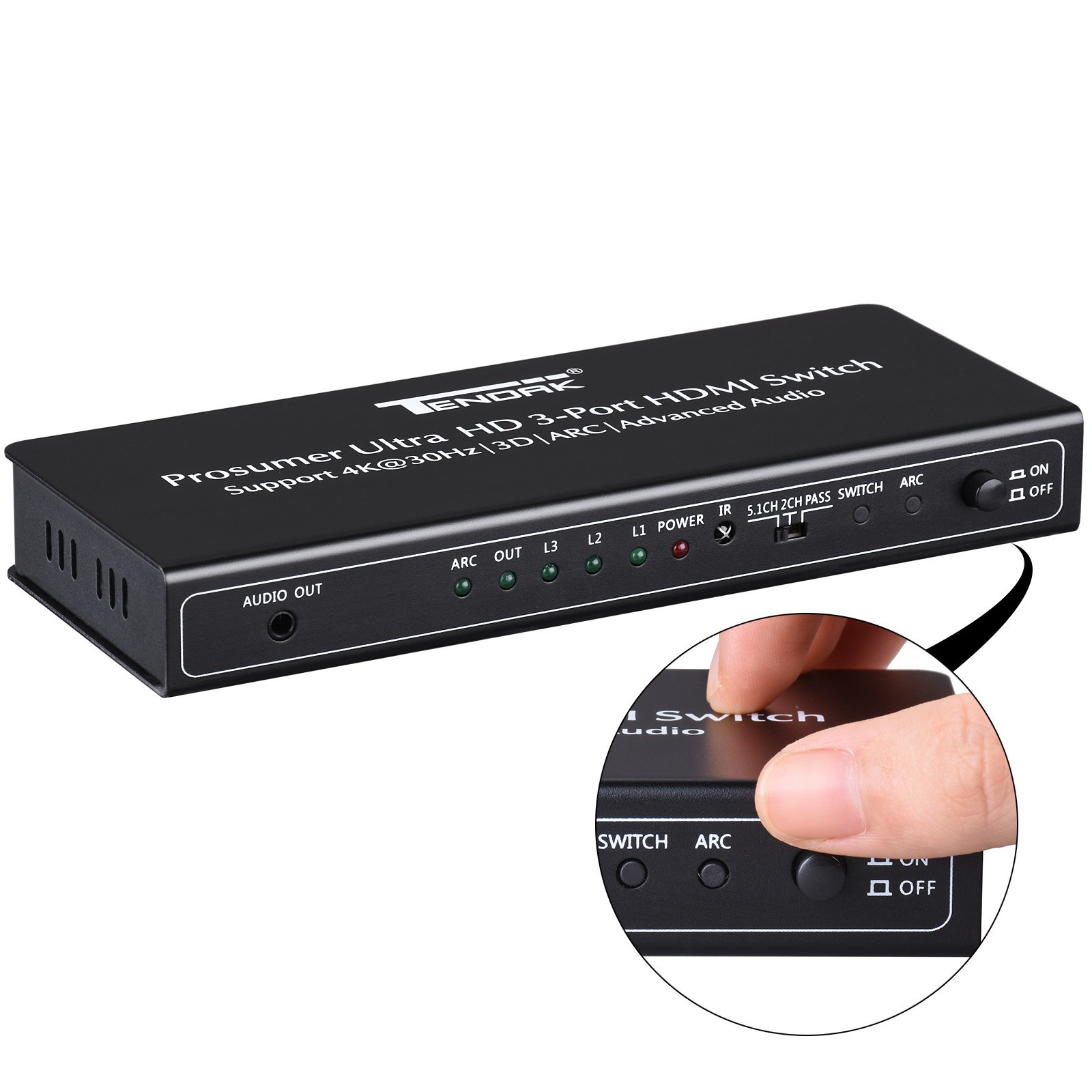 HDMI Switch with Audio Extractor - Tendak 3X1 HDMI Switcher and Optical  Toslink SPDIF + L/R and 3 5mm Headphone Stereo Audio Support ARC 4K 3D for