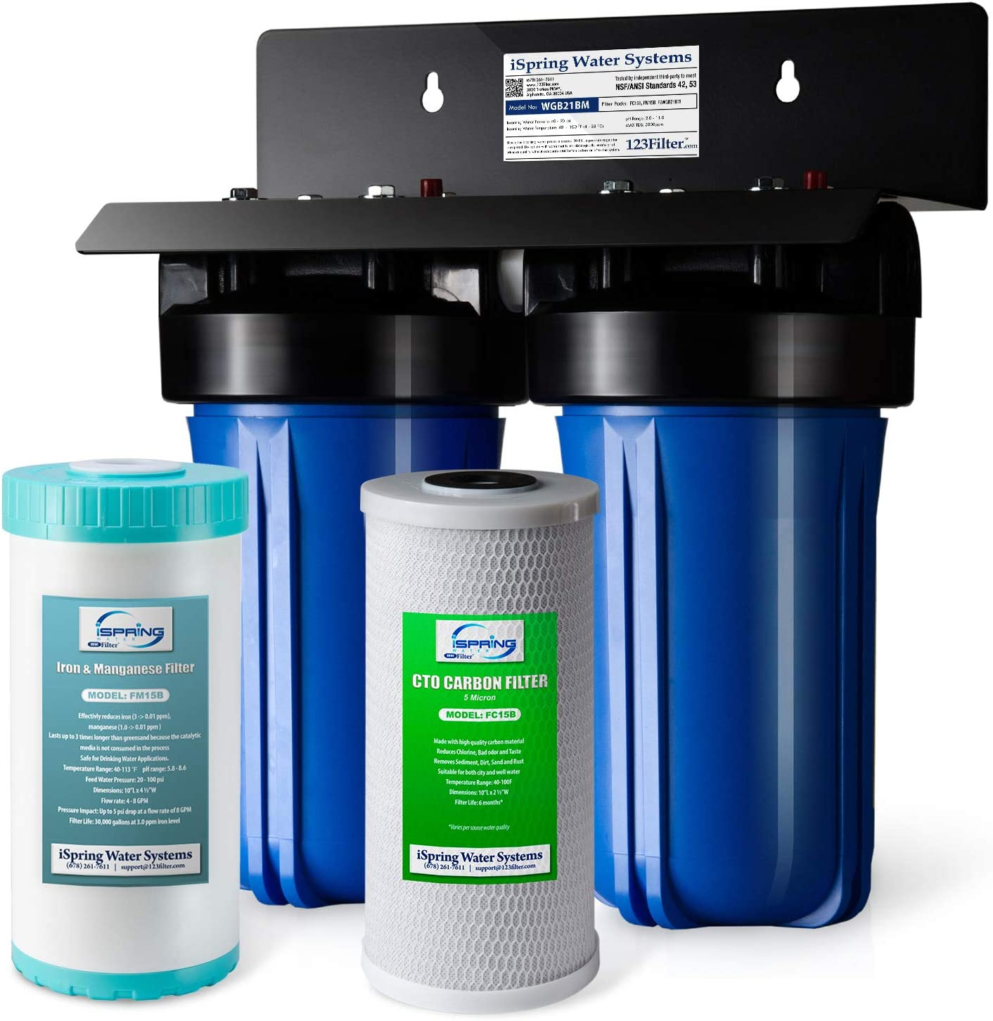 """iSpring WGB21BM 2-Stage Whole House Water Filtration System with 10"""" x 4.5"""" Big Blue Carbon Block and Iron & Manganese Reducing Filters, 1"""" Ports"""
