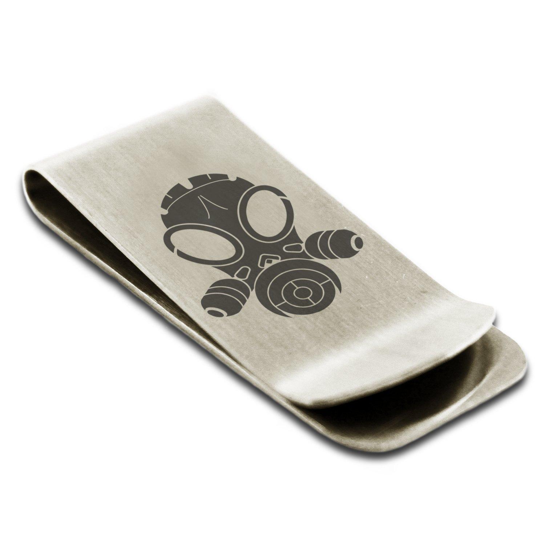 Stainless Steel Biohazard Gas Mask Engraved Money Clip Credit Card Holder