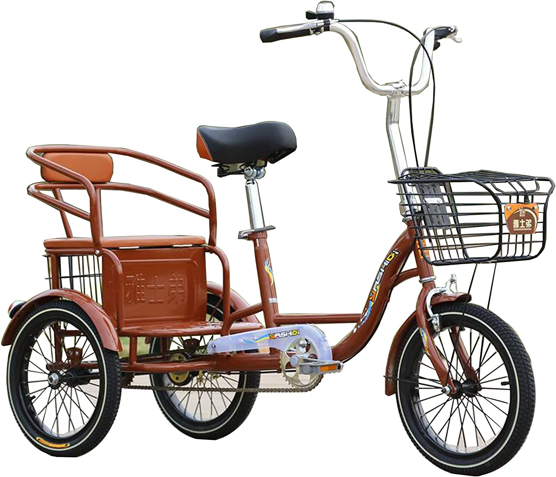 HOUSEHOLD Triciclo para Adultos De Una Sola Velocidad De 16 Pulgadas, Triciclo De Crucero con Pedal De Dos Plazas, Triciclo Humano Plegable con Cesta De La Compra, Asiento Ajustable