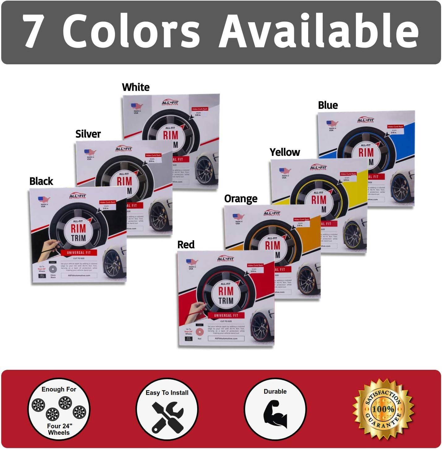 All-Fit Rim Trim Wheel Protection Strips for Curb Rash Prevention Universal Fit Orange