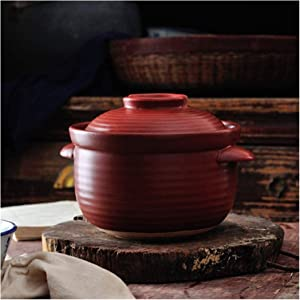 Cooking Pot Round Red Pan,Japanese Donabe Ceramic Hot Pot,Heat Resistant Pan with Lid,Small Vintage Earthenware Clay Pot,Rice Cooker for Rice Soup Noodles ZSEFV (Size : 2.5L)