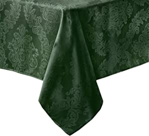 Newbridge Barcelona Luxury Damask Fabric Tablecloth, 100% Polyester, No Iron, Soil Resistant Dining Room, Party Banquet and Holiday Tablecloth, 52 Inch x 52 Inch Square, Hunter Green