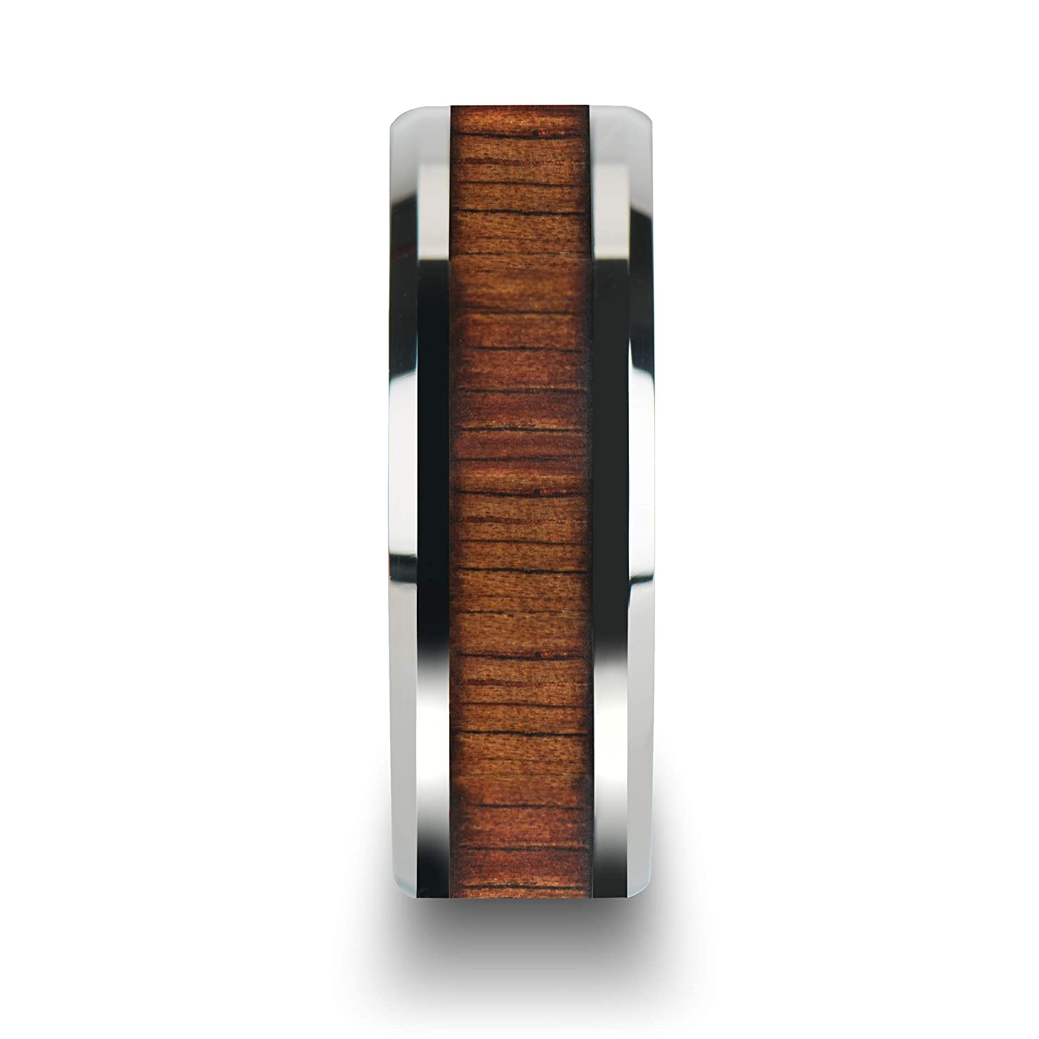 Comfort Fit Tungsten Rings for Men Tungsten Thorsten KONA Tungsten Carbide Wedding Ring Band with Koa Wood Inlay and Polished Beveled Edges 6mm