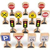 14-piece Wooden Street Signs Playset for Kids, Compatible with All Major Train Brands, Block Sets, & Carpet Playmats by Imagination Generation