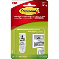 Command Small Picture Hanging Strips, Decorate Damage-Free, Holds 4lbs, 8-Pairs (17205-ES) - 1