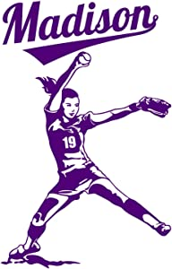 Softball Player FastPitch Pitcher Wall Custom Girl Name Vinyl Wall Decal Sticker (X-LARGE: 33