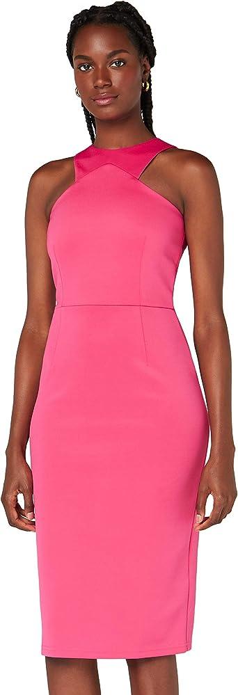 TALLA 40 (Talla del Fabricante: Medium). Marca Amazon - TRUTH & FABLE Vestido Mujer Asimétrico Rosa (Pink) 40 (Talla del fabricante: Medium)
