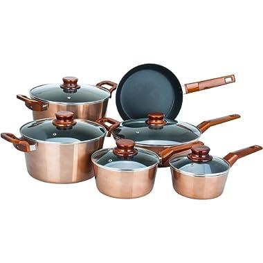 11 Piece Copper Cookware Set in Metallic Non Stick Bakelite Handles Pot Frying pan Dutch Oven Glass lid Home Kitchen Gift Pots Pans