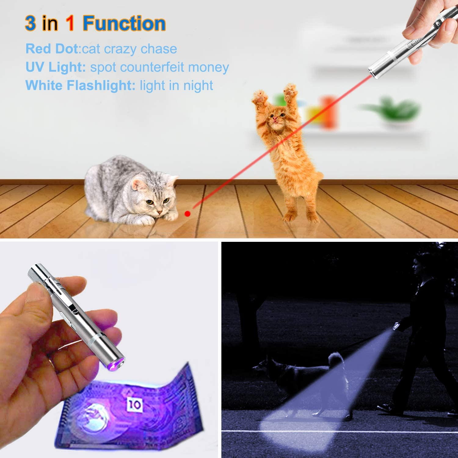 3 Pack Green Red Purple Lights for Cat Dog Exercise Playing Interactive Light Training Tool