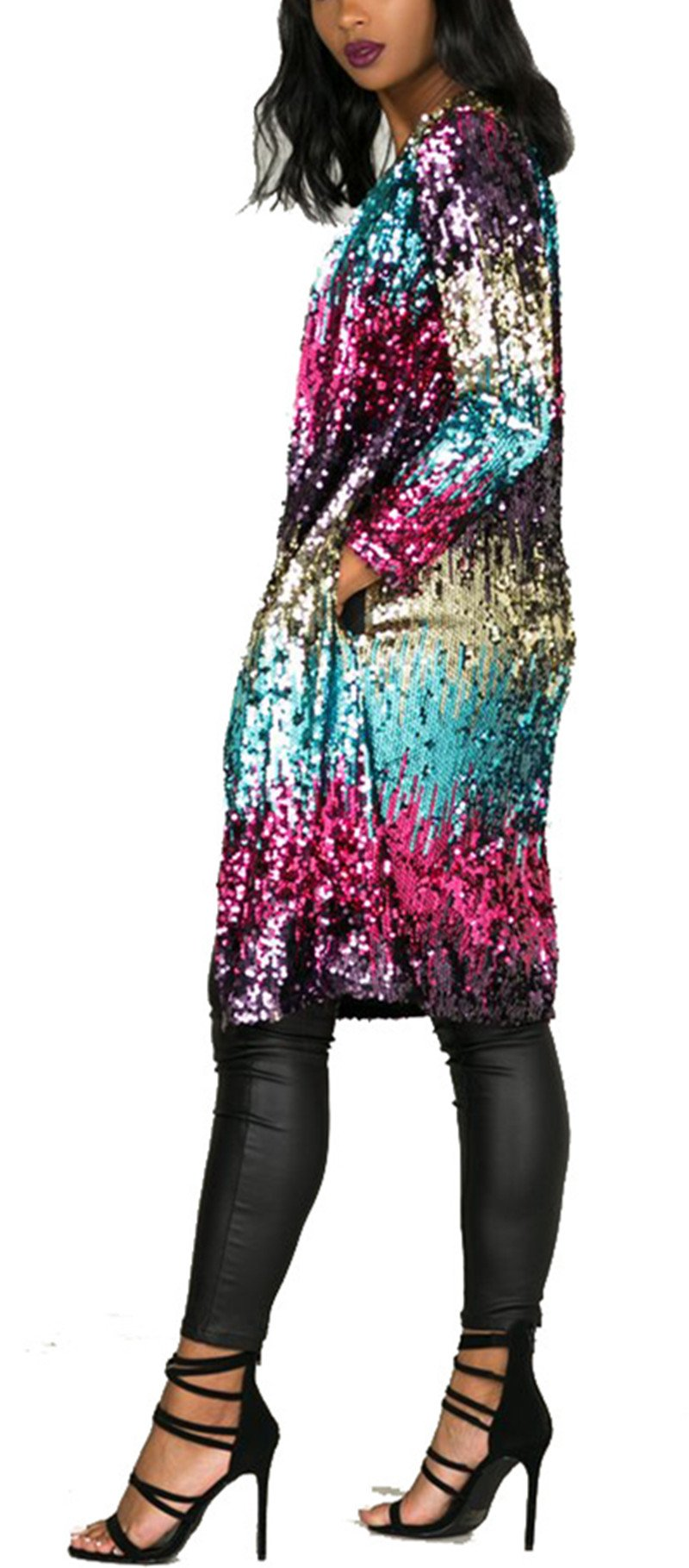 Women's Spring Fall Cover Up Long Sleeve Sparkling Sequins Long Loose Open Front Cardigan Coat Party Club Stage Dress S by Fashion Cluster (Image #4)