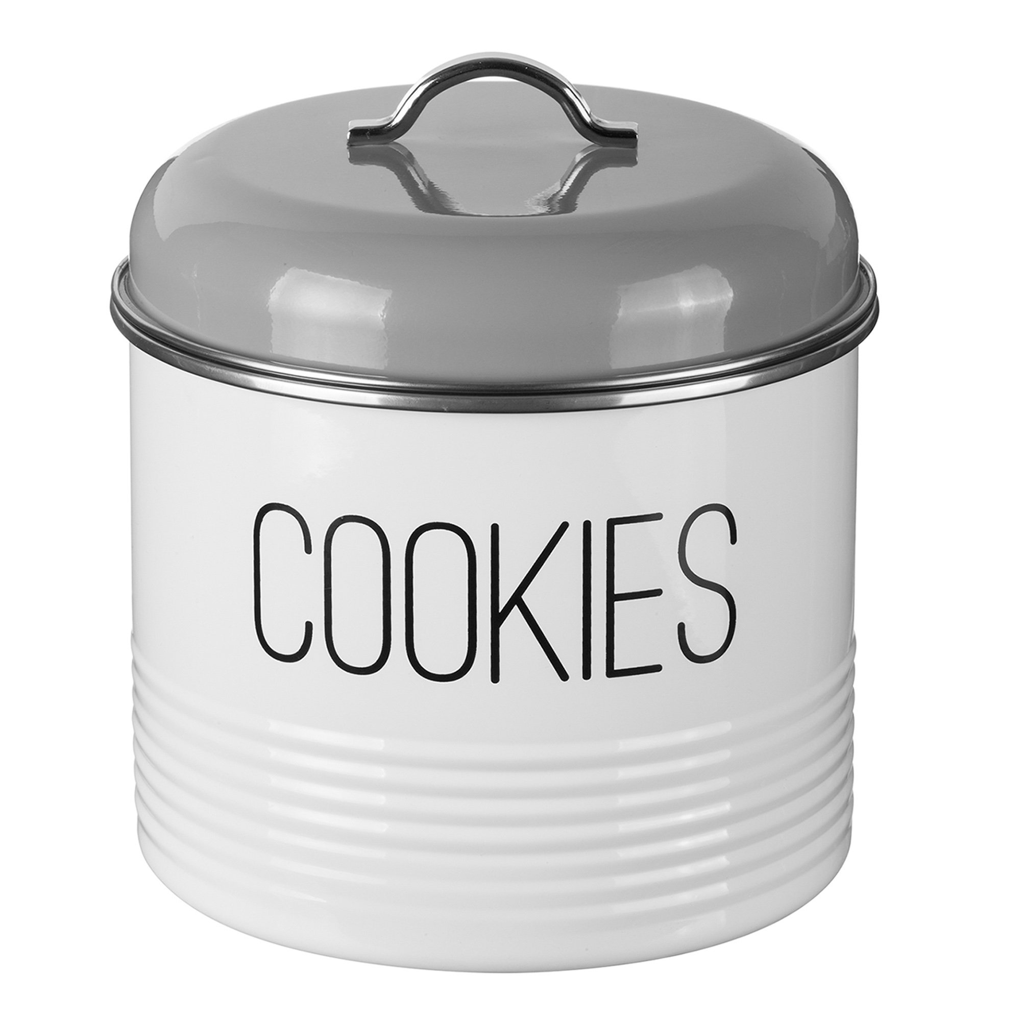 Typhoon Vintage Mayfair Coated Steel Cookie Storage Tin with Airtight Lid; Designed To Store Plenty of Cookies; 7-Inches by 7-Inches; Gray and White
