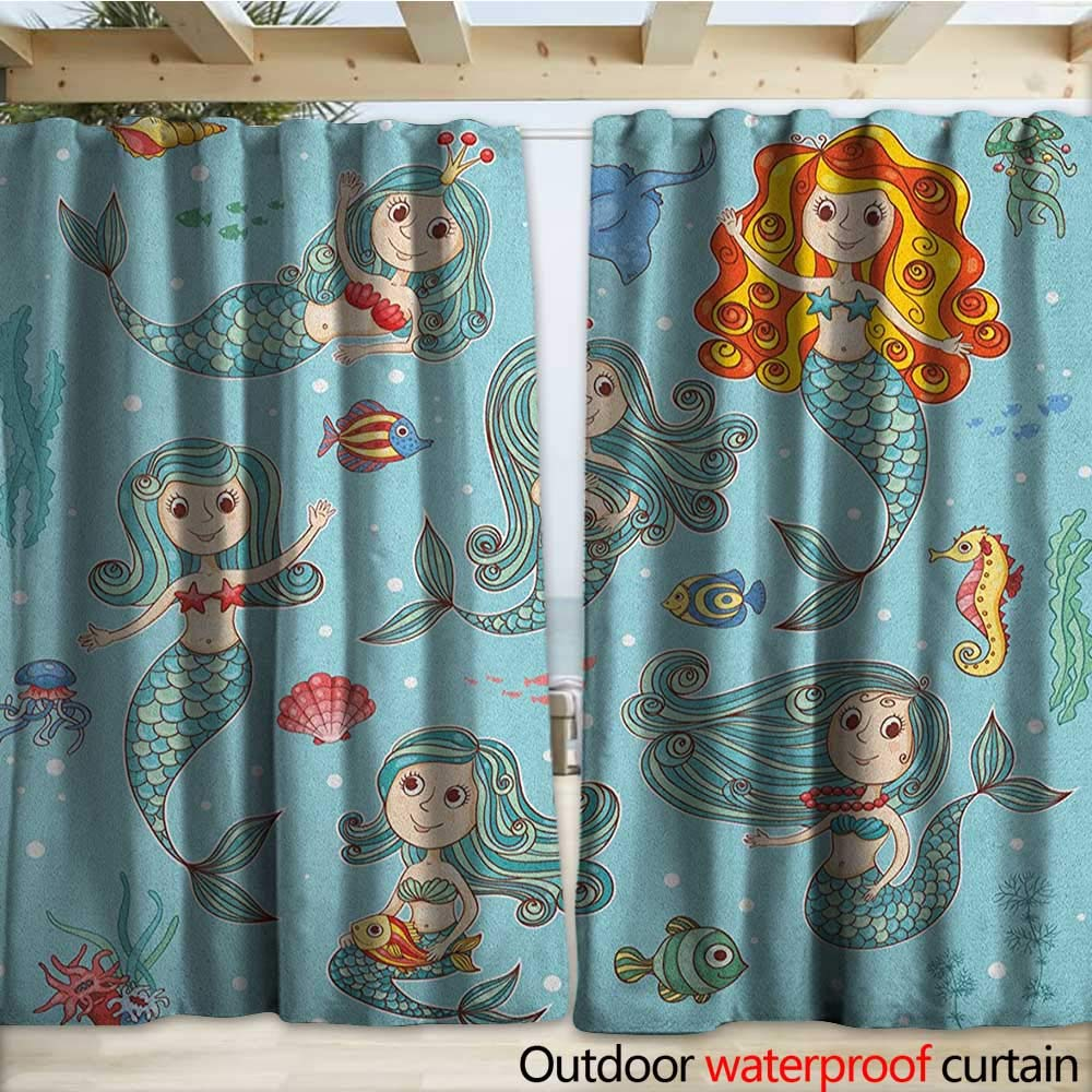 warmfamily Mermaid Outdoor Curtain Cute Collection of Mermaids with Different Types of Sea Creatures Marine Print W108 x L108 Teal Orange