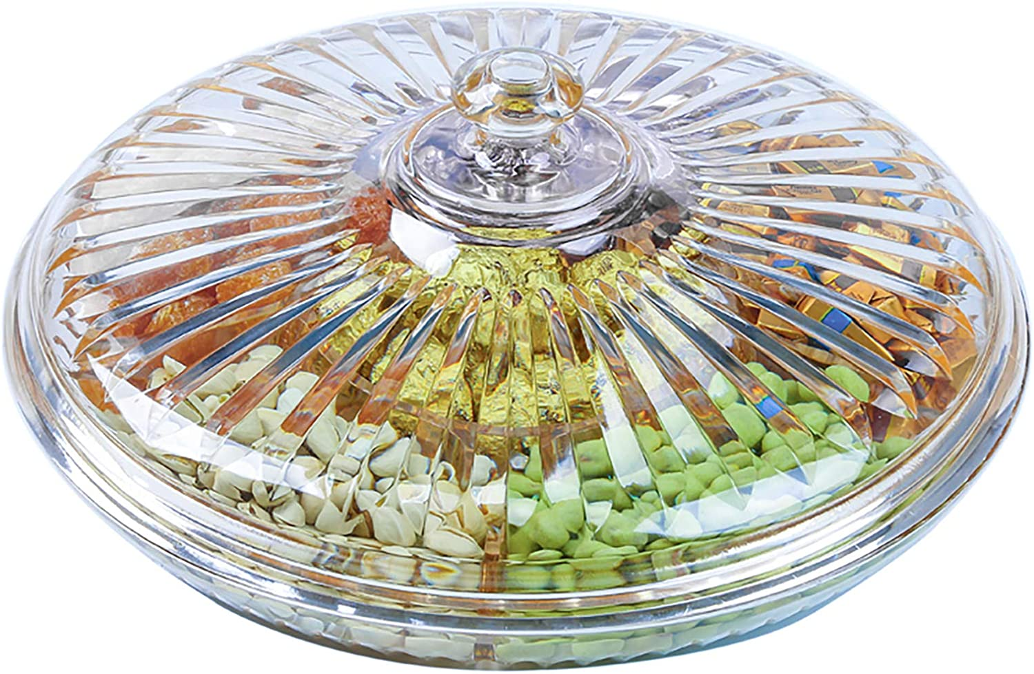Yesland 12-3/8 Inches Snack Serving Tray Set with Lid, Acrylic Appetizers/Food Tray with 6 Sections for Parties, Holidays, Family Dinner