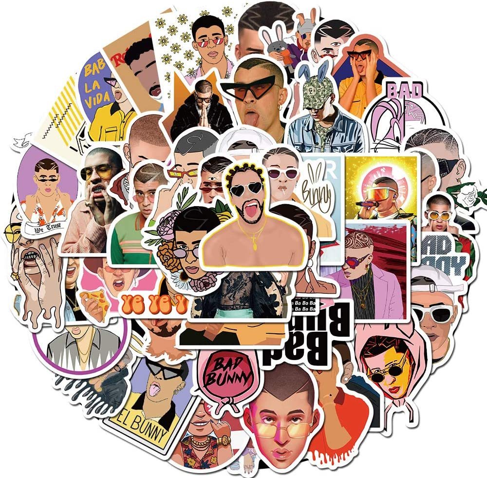 Singer Bad Bunny Stickers 50pcs for Laptop and Water Bottle, Trendy Waterproof Decal for Teen Computer, Skateboard, Travel Case, Phone (Bad Bunny)