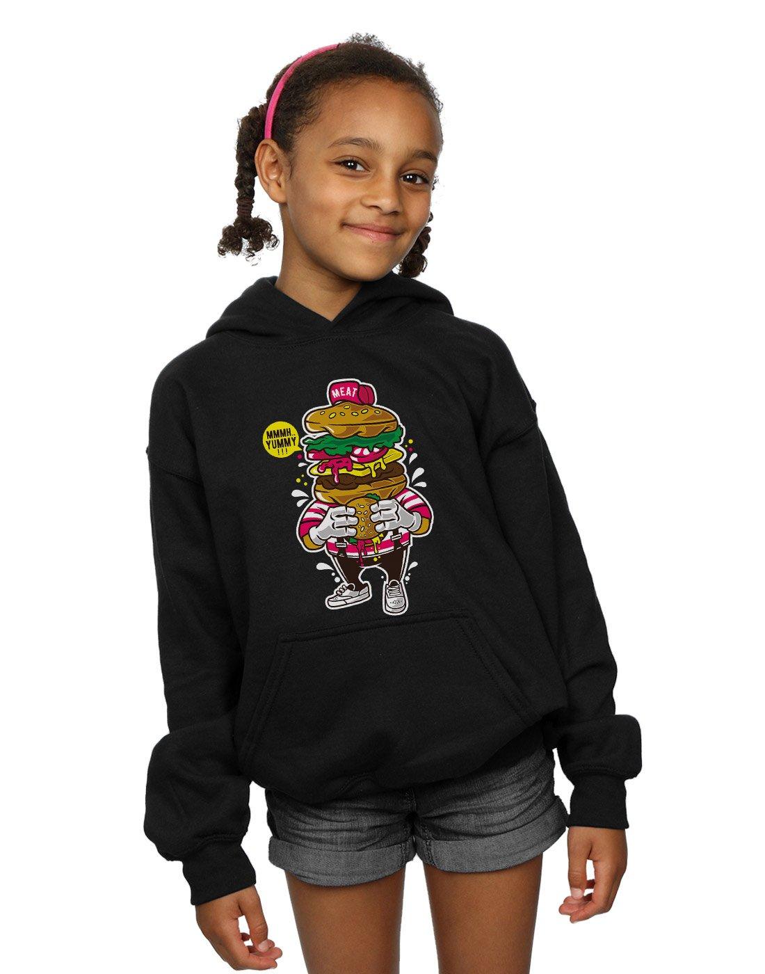 Drewbacca Girls Love Burgers Hoodie Black 5-6 Years