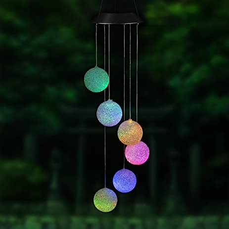 decorative solar lighting. Changing Colors Solar Power Mobile Wind Spinner,Easest Waterproof Spiral Spinner Windchime Outdoor Decorative Mobiles Lighting
