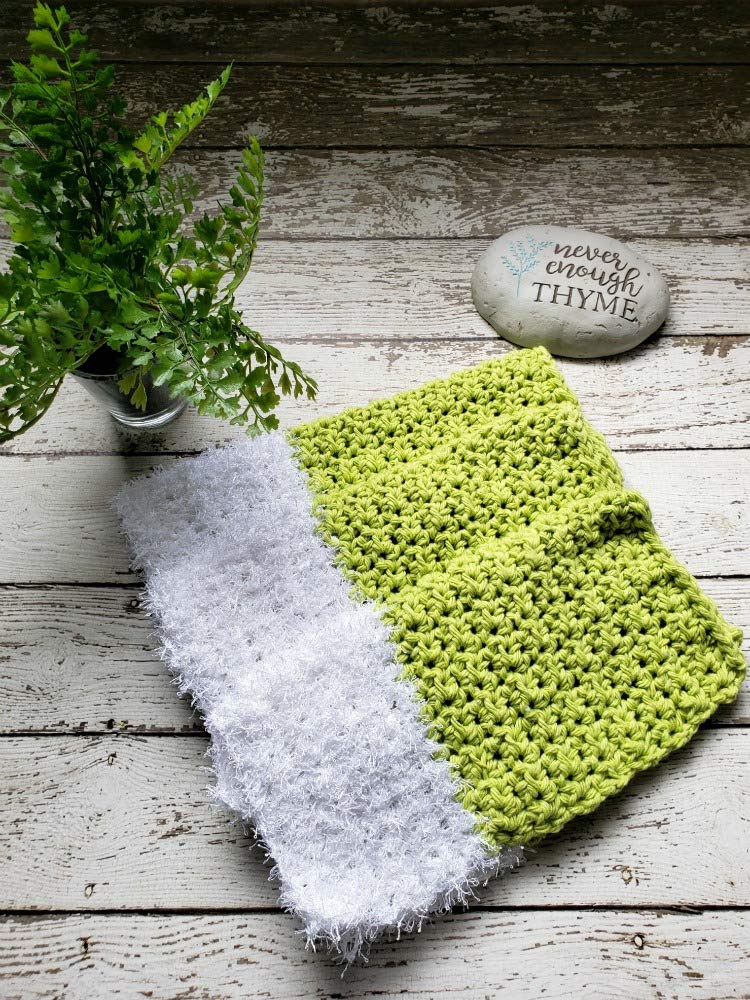 Amazoncom Handmade Cotton Kitchen Dish Cloths Lime Green White