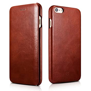 new products 3ebe8 0b502 NOVADA Leather iPhone 6 Plus & 6S Plus Case Genuine Leather Flip Cover -  Vintage - Tan
