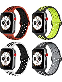 AK Compatible with for Apple Watch Band 38mm 40mm 42mm 44mm, Soft Silicone Replacement Wristband Compatible with for...