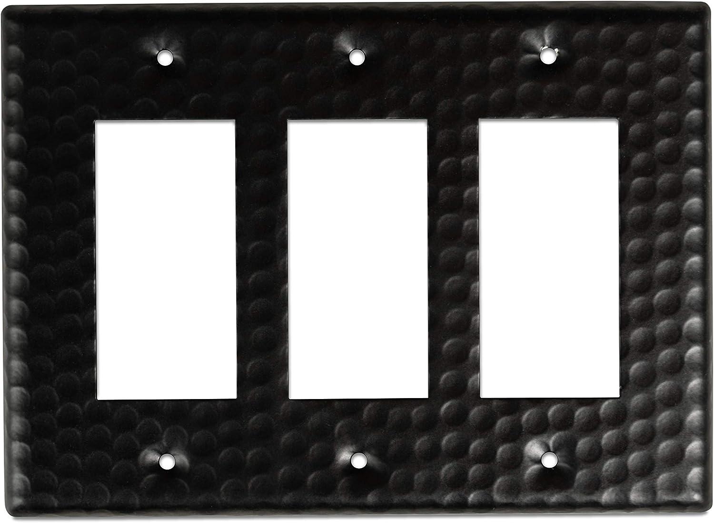 Monarch Abode 19115 Hand Hammered Triple Rocker Wall Switch Plate, 3-Gang, Matte Black