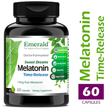 Time Release Melatonin (3 mg) - Promotes Relaxation & Healthy Sleep Patterns, More