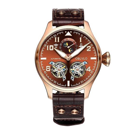 relojes militares para hombre Moon Fase Tourbillon relojes automáticos oro rosa relojes OBL8232