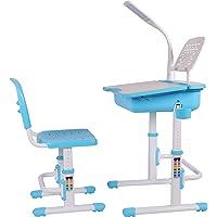 Leomark Ergonomisch Kinderschreibtisch Schreibtisch Und Stuhl Höhenverstellbar Stuhl-Set Bücherregal Kinder-Schreibtisch Mit Stühlen Schublade Led-Lampe Farbe Blau