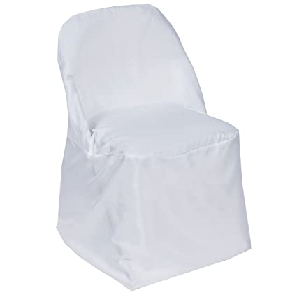 Sensational Balsacircle 50 Pcs White Folding Round Polyester Chair Covers For Party Wedding Linens Decorations Dinning Ceremony Reception Supplies Creativecarmelina Interior Chair Design Creativecarmelinacom
