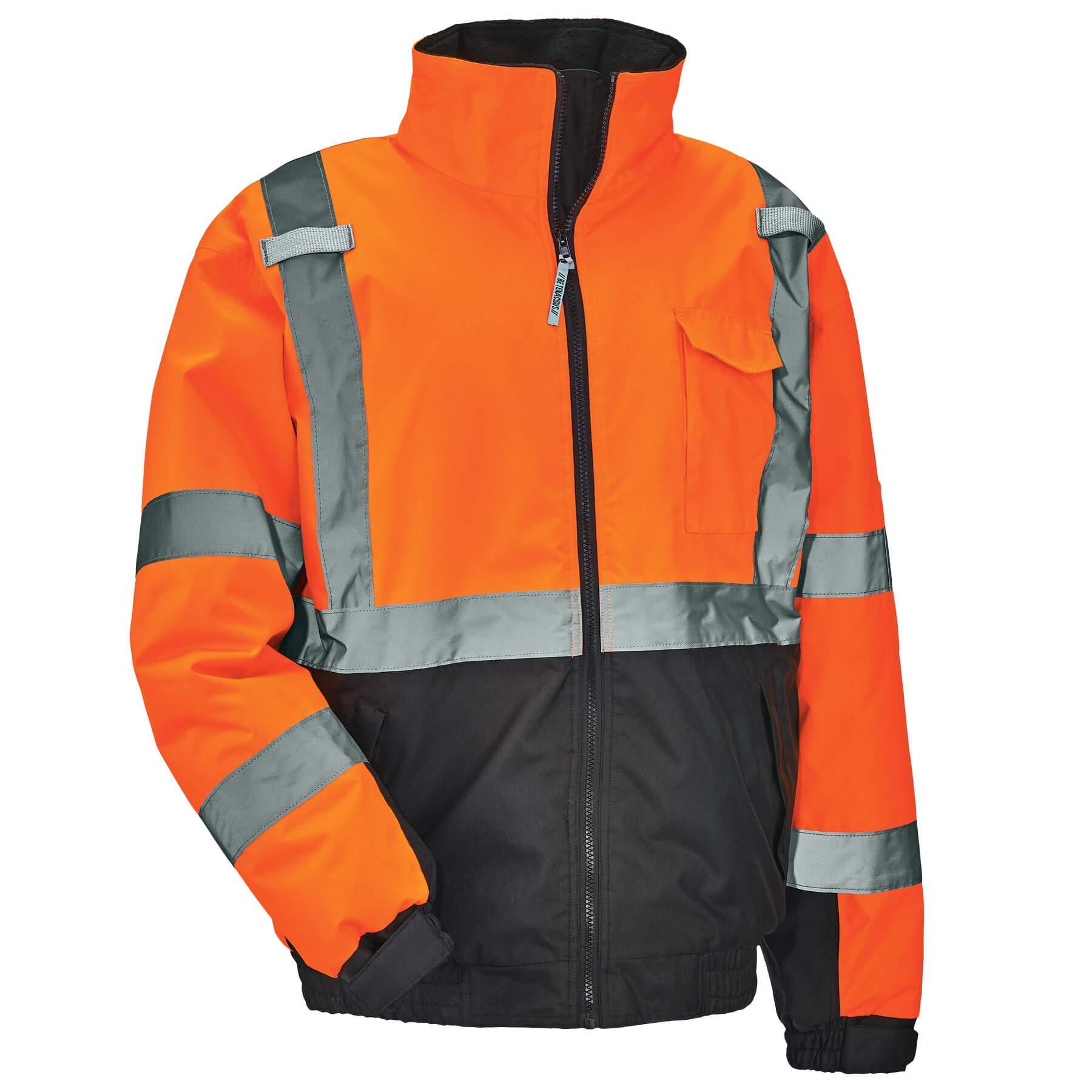 Ergodyne GloWear 8377 Black Bottom Thermal Bomber Jacket, Large, Orange
