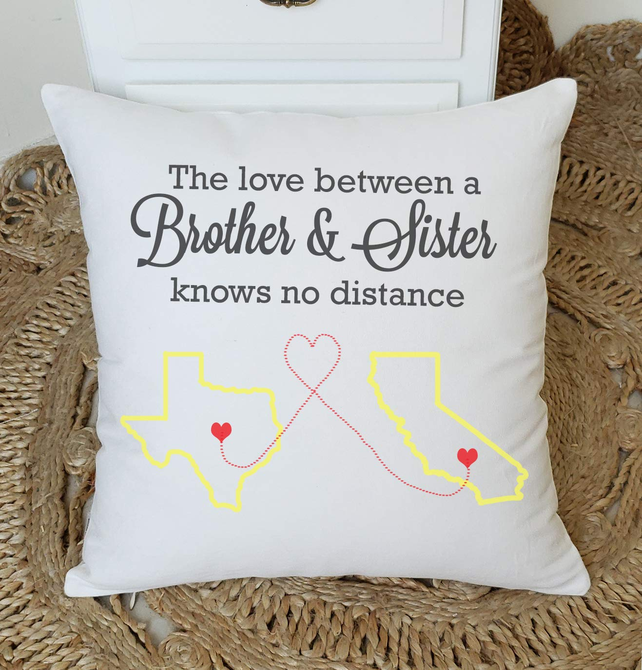 YugTex Cushion Cover Long Distance Brother and Sister gifts, Christmas Gifts,big brother little sister pillow cover,you'll always be my brother,Gift For Sister, Sister Pillow, World's Best Sister gifts