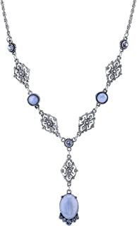 product image for 1928 Jewelry Pewter Tone Light Blue Moonstone and Crystal Accent Filigree Y-Necklace 16 Inch Adjustable