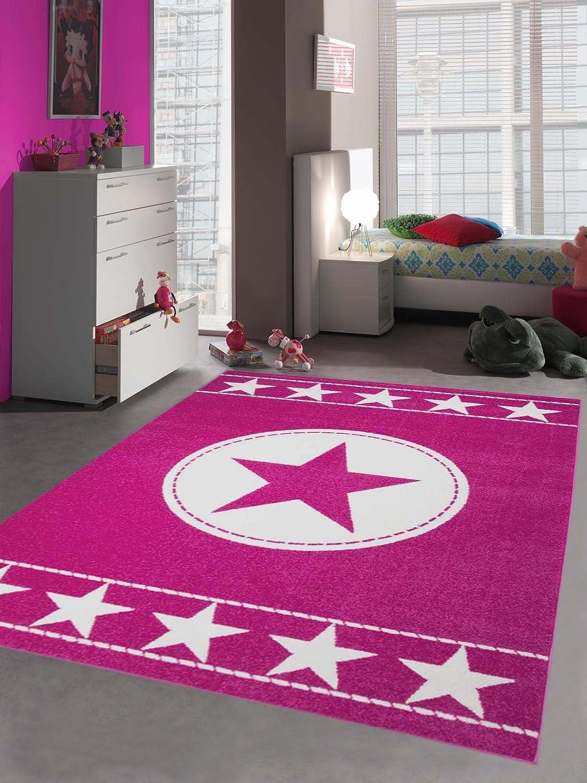 Traum Kinderteppich Spielteppich Kinderzimmer Teppich Sternteppich Sterne Pink Creme