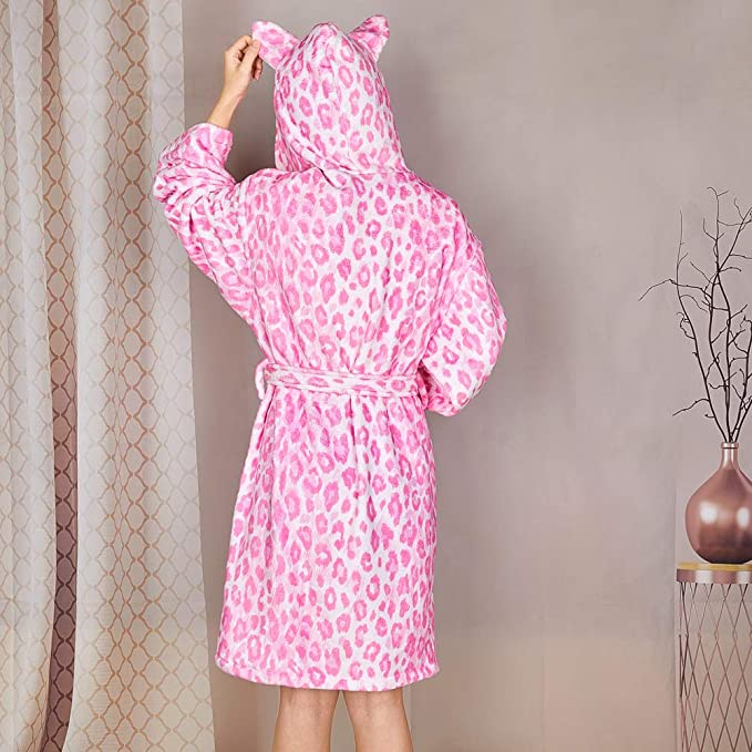 Beinou Kids Dressing Gown Hooded Robes Unicorn Fleece Towelling Bathrobe Flannel Nighty Terry Towel Animals Sleepwear for Girls Boys Gifts