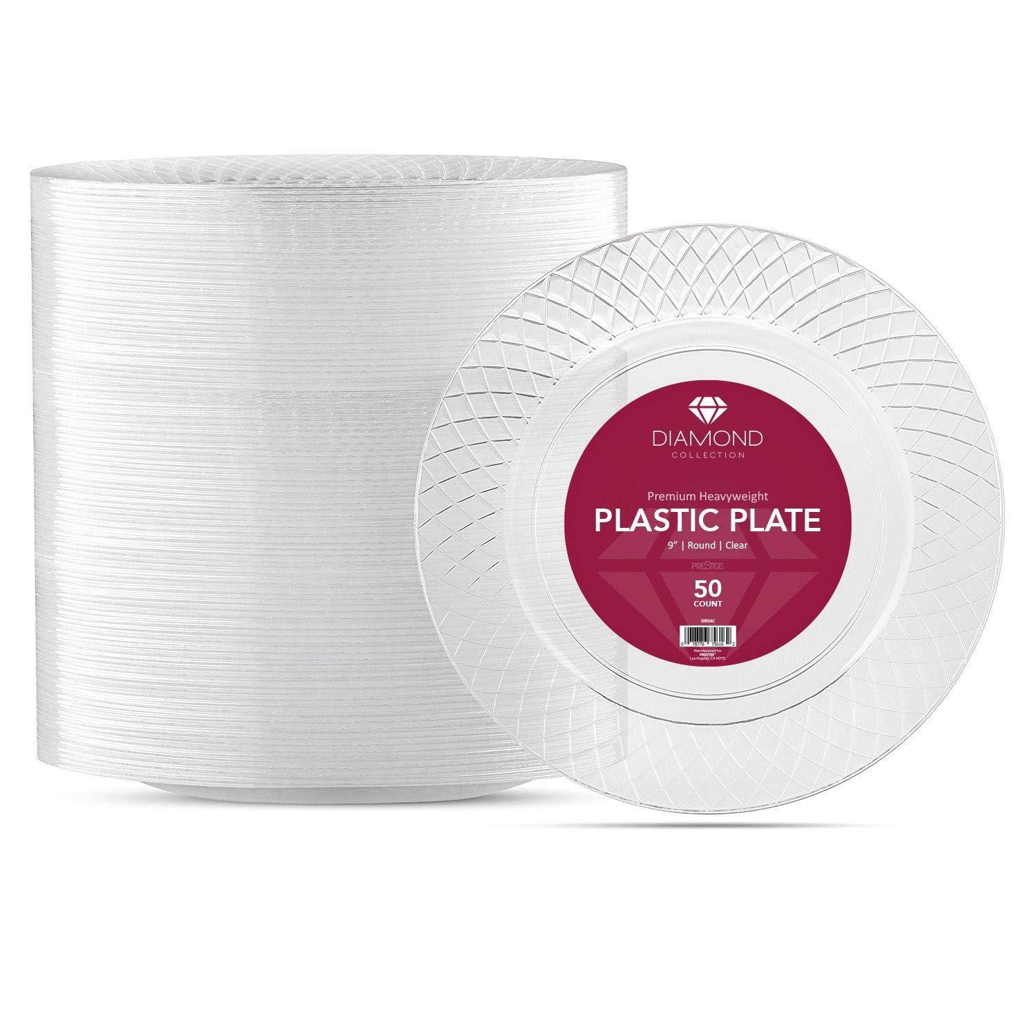 50 CRYSTAL CLEAR PLASTIC PLATES | 9 Inch Disposable Plates | Fancy Dinner Plates | Elegant Luncheon plates | Hard Round Party Plates | Heavy Duty Wedding Plates | Premium Catering Plates [Diamond] by Prestee